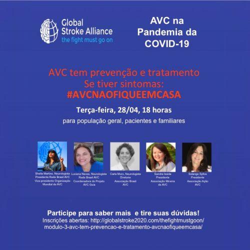 Webinar sobre prevenção e tratamento do AVC em tempos da pandemia do coronavírus.