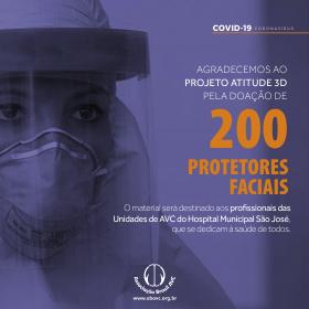 Projeto Atitude 3D doa 200 protetores faciais para ABAVC